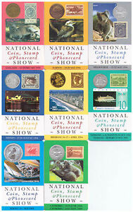 SET OF 8 SOUVENIR CARDS OF THE NATIONAL COIN STAMP AND PHONECARD SHOWS