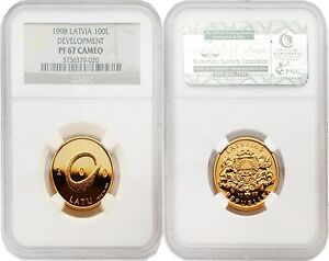 Click now to see the BUY IT NOW Price! LATVIA 1998 DEVELOPMENT 100 LATU GOLD NGC PF67 CAMEO