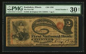 Click now to see the BUY IT NOW Price! $2 ORIGINAL SERIES  LAZY DEUCE SERIAL NUMBER 1 KANKAKEE IL CH. 1793 PMG VF 30