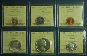 Click now to see the BUY IT NOW Price! PROOFLIKE SET 1954 CANADA ICCS PL64/PL65/PL66/PL67  $1 50C 25C 10C 5C AND 1C