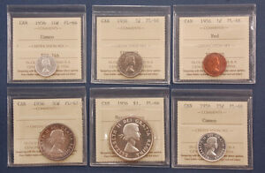 Click now to see the BUY IT NOW Price! PROOFLIKE SET   1956 CANADA ICCS PL66/PL67   GEMS   $1 50C 25C 10C 5C AND 1C