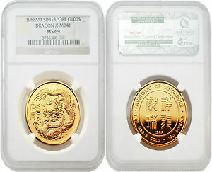 Click now to see the BUY IT NOW Price! SINGAPORE 1988 DRAGON X MB41 100 DOLLARS 1 OZ GOLD NGC MS69