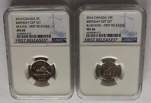 Click now to see the BUY IT NOW Price! 2016 CANADA NGC FIRST RELEASES MS66 BIRTHDAY GIFT SET 5C & 10C SET