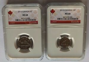 Click now to see the BUY IT NOW Price! 2013 CANADA NGC MS68 5C BEAVER & 10C SCHOONER SET  TOP POP SET
