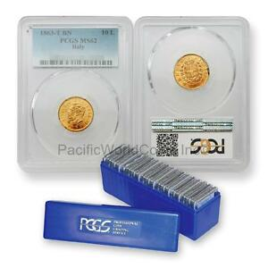 Click now to see the BUY IT NOW Price! ITALY 1863 T BN 10 LIRE GOLD PCGS MS62 20PC WITH PCGS BLUE BOX