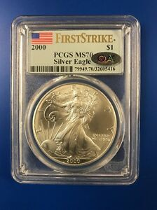 Click now to see the BUY IT NOW Price!  PCGS MS70 2000 FIRST STRIKE SILVER EAGLE QA LABELED. MAKE A OFFER.