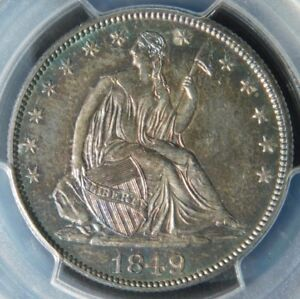 100  EXPLODING  PL FIELDS  PCGS MS63 1849 SEATED HALF