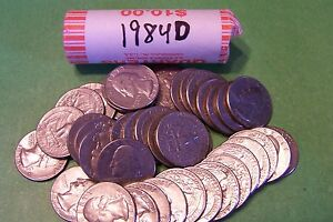 1984 D WASHINGTON QUARTER ROLL   40 COINS