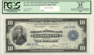 Click now to see the BUY IT NOW Price! 1915 $10 FR 817 KANSAS CITY J41409A FEDERAL RESERVE BN PCGS VF 35 APPARENT