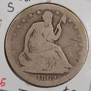 1862 S 50C LIBERTY SEATED HALF DOLLAR GOOD CONDITION 143549