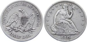 COIN UNITED STATES HALF DOLLAR 1864 KM A68 SILVER SEATED LIBERTY XF MT2