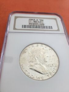1963  D FRANKLIN HALF DOLLAR CERTIFIED MS 63 BY    NGC