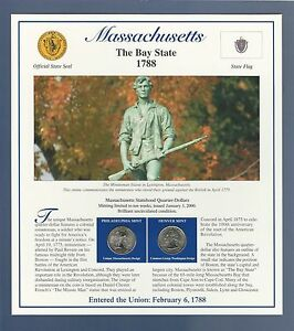 2000 MASSACHUSETTS STATE QUARTERS & STAMPS PANEL POSTAL COMMEMORATIVE SOCIETY