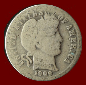 1909 P BARBER 90  SILVER DIME SHIPS FREE. BUY 5 FOR $2 OFF