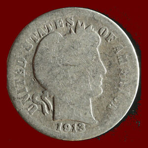 1913 P BARBER 90  SILVER DIME SHIPS FREE. BUY 5 FOR $2 OFF