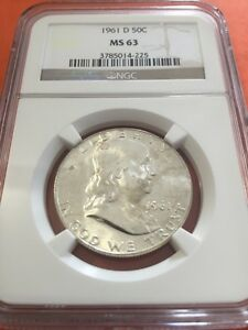 FRANKLIN HALF DOLLAR 1961 D CERTIFIED MS 63 BY NGC