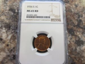 1936 S LINCOLN SMALL CENT NGC  MS 65 RD