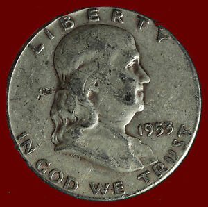 1953 S FRANKLIN 90  SILVER HALF DOLLAR SHIPS FREE. BUY 5 FOR $2 OFF