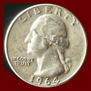 1964 D WASHINGTON 90  SILVER QUARTER SHIPS FREE. BUY 5 FOR $2 OFF
