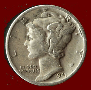 1941 P MERCURY 90  SILVER DIME SHIPS FREE. BUY 5 FOR $2 OFF