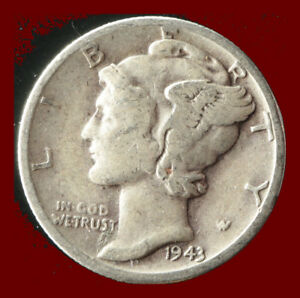 1943 D MERCURY 90  SILVER DIME SHIPS FREE. BUY 5 FOR $2 OFF