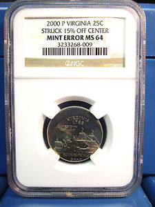2000 P VIRGINIA 25C QUARTER STRUCK 15  OFF CENTER MINT ERROR MS64 NGC