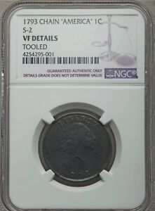 1793 CHAIN LARGE CENT NGC VF DETAILS AMERICA S 2 B 2 R 4 SOLID CHAIN CENT