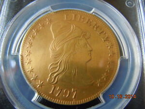 Click now to see the BUY IT NOW Price! 1797  DRAPED BUST 10.00 EAGLE GOLD COIN PCGS GRADED XF LARGE EAGLE 220YRS OLD