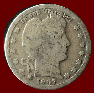 1907 P BARBER 90  SILVER QUARTER SHIPS FREE. BUY 5 FOR $2 OFF