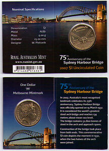 2007 DOLLAR RAM $1 UNC COIN M MINTMARK   75TH ANNIV. SYDNEY HARBOUR BRIDGE