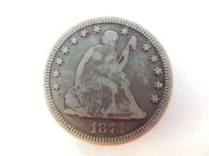 1873 SEATED LIBERTY QUARTER DOLLAR OPEN 3  US 90  SILVER  F33