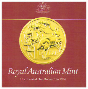 1984 $1 COIN UNC IN FOLDER   FIRST ISSUE OF $1 COIN