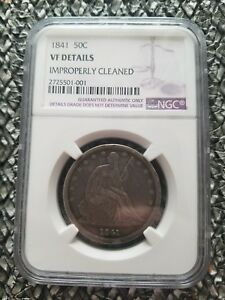 1841 SEATED LIBERTY HALF DOLLAR NGC CERTIFIED VF DETAILS IMPROPERLY CLEANED