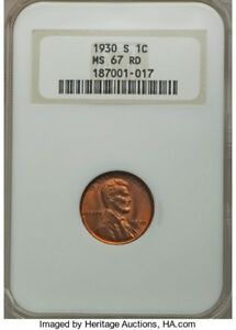 Click now to see the BUY IT NOW Price! 1930 S LINCOLN WHEAT CENT MS 67 W/NONE GREATER NGC VALUE $11 500
