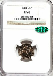 1883 3CN NGC   CAC PF66 THREE CENT NICKEL PROOF PR66 PQ EYE APPEAL GEM TYPE COIN