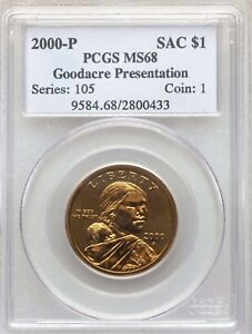 Click now to see the BUY IT NOW Price! 2000 P GOODACRE PRESENTATION SACAGAWEA DOLLAR PCGS MS68 BOLD GOLD ORANGE MIRRORS