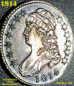 1814 CAPPED BUST HALF DOLLAR  O 105    UNC   GORGEOUS PATINA