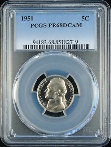 Click now to see the BUY IT NOW Price! 1951 JEFFERSON 5C PCGS PR 68 DCAM  TIED FOR FINEST KNOWN