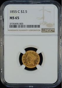 Click now to see the BUY IT NOW Price! 1855 C LIBERTY $2.5 NGC MS 65  FINEST KNOWN 1/2