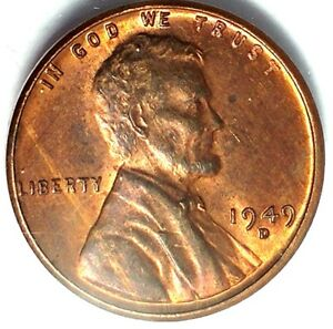1949 D  1C LINCOLN WHEAT CENT 17RR1412 RED UNC