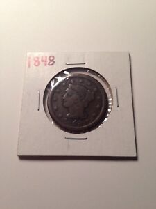 1848 UNITED STATES BRAIDED HAIR LARGE ONE CENT