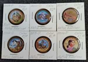 2009 2014 P & D $1 COLORIZED SIX COIN DOLLAR SET LITTLETON NATIVE AMERICAN GIFT?