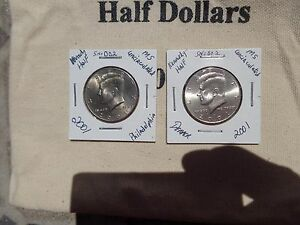 2001 P&D KENNEDY HALF DOLLARS UNCIRCULATED FROM US MINT BAG LOT002