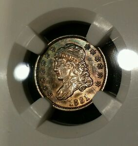 1831 5C CAPPED BUST HALF DIME UNC DETAILS NGC  BEAUTIFUL TONING RAINBOW REVERSE
