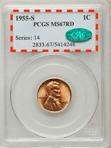 1955 S LINCOLN CENT  MS67RD  PCGS & CAC