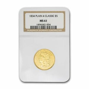 Click now to see the BUY IT NOW Price! 1834 $5 GOLD CLASSIC HEAD HALF EAGLE PLAIN 4 MS 61 NGC   SKU155317