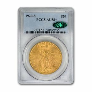 Click now to see the BUY IT NOW Price! 1920 S $20 SAINT GAUDENS GOLD DOUBLE EAGLE AU 58  PCGS CAC   SKU159905