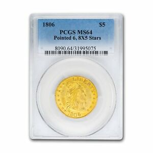 Click now to see the BUY IT NOW Price! 1806 $5 CAPPED BUST GOLD HALF EAGLE PNTD 6 8X5 STARS MS 64 PCGS   SKU155334