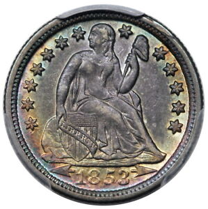 Click now to see the BUY IT NOW Price! 1853 O SEATED DIME ARROWS PCGS AU 58 CAC GREAT COLOR
