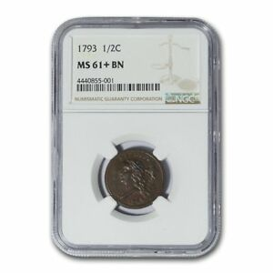 Click now to see the BUY IT NOW Price! 1793 HALF CENT MS 61  NGC  BROWN    SKU153557